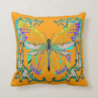 Dragonfly-Butterfly Gold Fantasy Pillow by Sharles