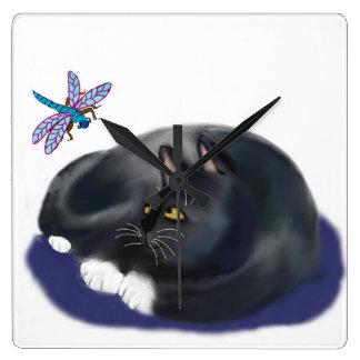 Dragonfly Buzzes a Resting Cat Square Wallclock