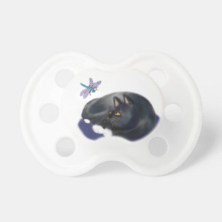 Dragonfly Buzzes a Resting Cat Pacifier