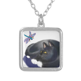 Dragonfly Buzzes a Resting Cat Silver Plated Necklace