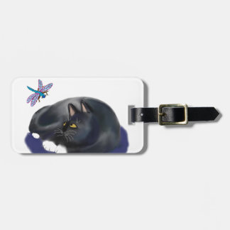 Dragonfly Buzzes a Resting Cat Tag For Luggage