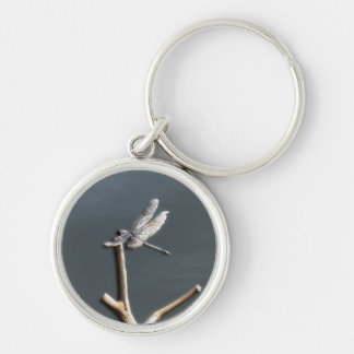 Dragonfly by the Lake Silver-Colored Round Keychain