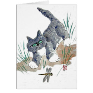 Dragonfly Chase by Kitten Card