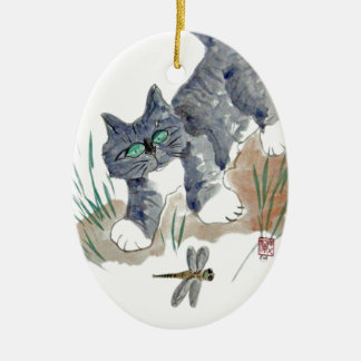 Dragonfly Chase by Kitten Ceramic Ornament
