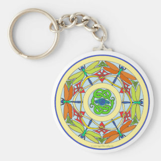 dragonfly circle basic round button keychain
