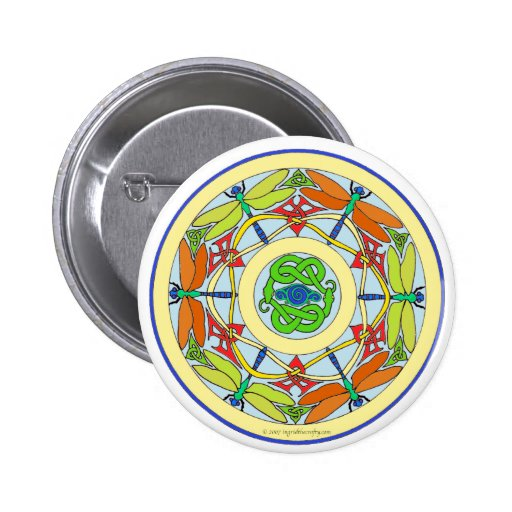 dragonfly circle pinback button