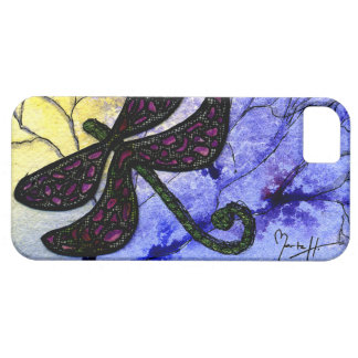 Dragonfly Collage over Watercolor - Blue Yellow iPhone 5 Case