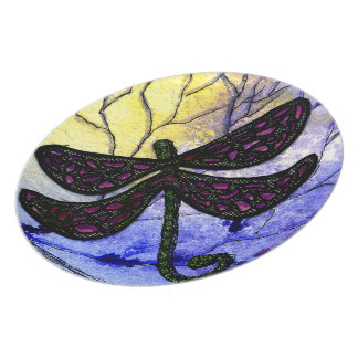 Dragonfly Collage over Watercolor - Blue Yellow Melamine Plate