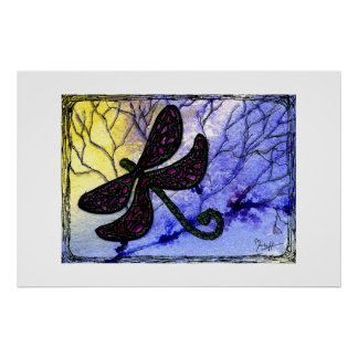Dragonfly Collage over Watercolor - Blue Yellow Poster