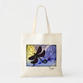 Dragonfly Collage over Watercolor - Blue Yellow Tote Bag
