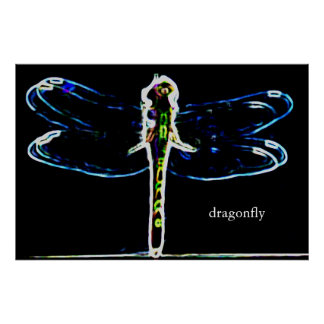Dragonfly (colored outline) print