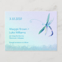 Dragonfly Country Wedding Save the Date Announcement Postcard