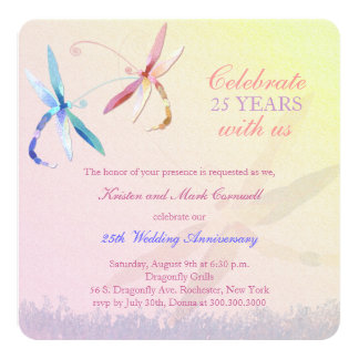 Dragonfly Couple 25th Wedding Anniversary Invitation