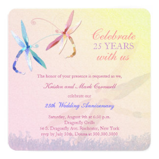 Dragonfly Couple 25th Wedding Anniversary Invites