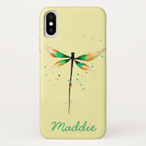 Dragonfly cute watercolor illustration iPhone XS case