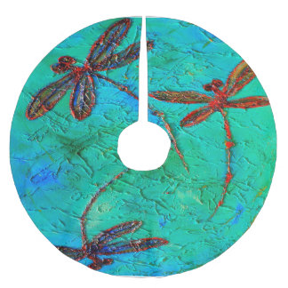 Dragonfly Dance Brushed Polyester Tree Skirt