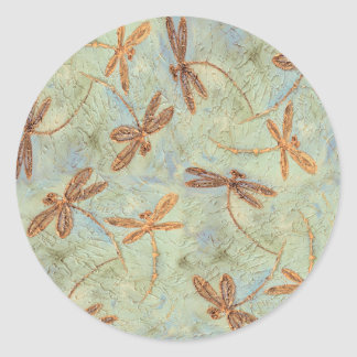 Dragonfly Dance Gold Classic Round Sticker