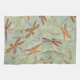 Dragonfly Dance Gold Kitchen Towel