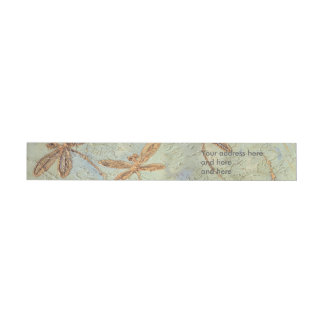 Dragonfly Dance Gold Wrap Around Address Label