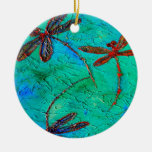Dragonfly Dance Double-Sided Ceramic Round Christmas Ornament