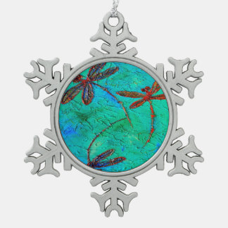 Dragonfly Dance Snowflake Pewter Christmas Ornament