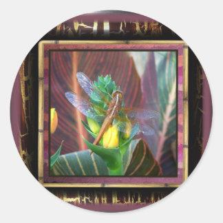 Dragonfly Dawn Classic Round Sticker