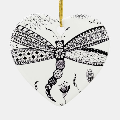 Dragonfly Double-sided Heart Ceramic Christmas Ornament