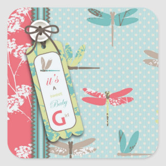 Dragonfly Dreams Girl Square Sticker