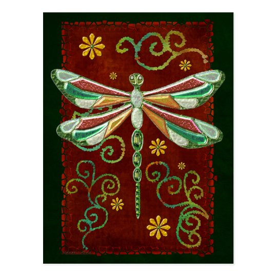 Dragonfly Elegant Jeweled 2 Folk Art Postcard