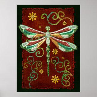 Dragonfly Elegant Jeweled 2 Folk Art Poster