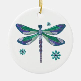 Dragonfly Elegant Jeweled  Folk Art Double-Sided Ceramic Round Christmas Ornament