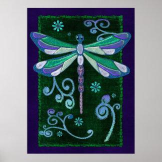 Dragonfly Elegant Jeweled Folk Art Poster
