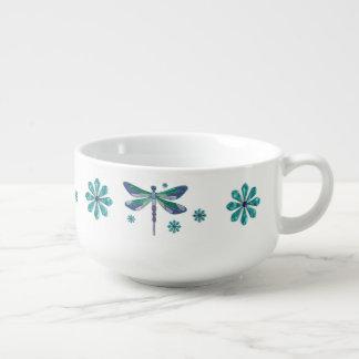 Dragonfly Elegant Jeweled Folk Art Soup Mug