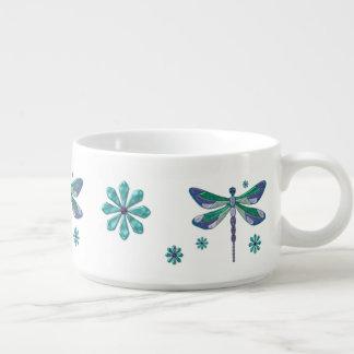 Dragonfly Elegant Jeweled Folk Art Chili Bowl