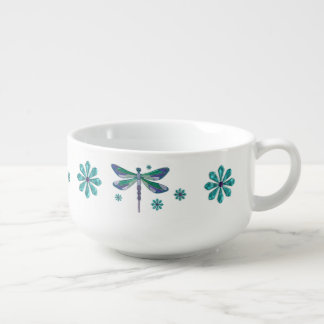 Dragonfly Elegant Jeweled Folk Art Soup Bowl With Handle