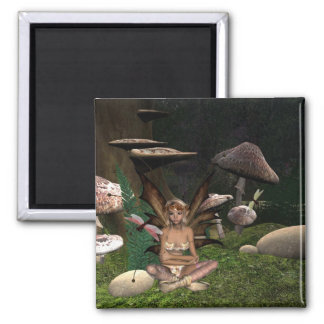 dragonfly Fairy 2 Inch Square Magnet