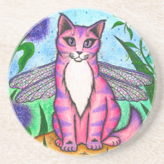 Dragonfly Fairy Cat Fantasy Art Coaster