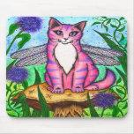 Dragonfly Fairy Cat Fantasy Art Mousepad