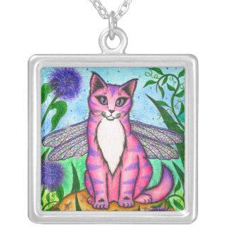 Dragonfly Fairy Cat Fantasy Art Necklace
