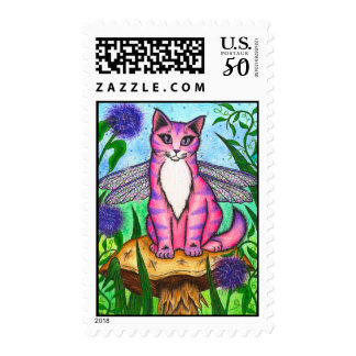 Dragonfly Fairy Cat Fantasy Art Postage