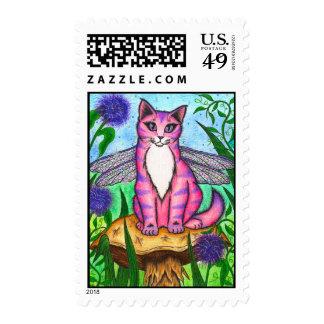 Dragonfly Fairy Cat Fantasy Art Postage