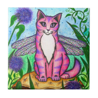 Dragonfly Fairy Cat Fantasy Art Tile