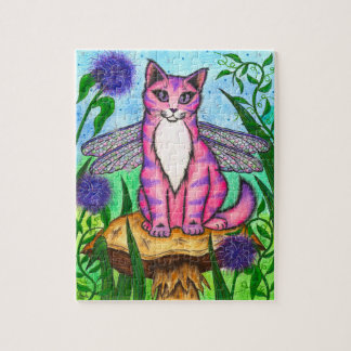 Dragonfly Fairy Cat Mushroom Fantasy Art Puzzle