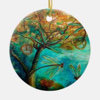 Dragonfly Flirtation Christmas Tree Ornaments