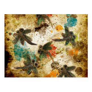 Dragonfly Flit Rustic Splash Postcard