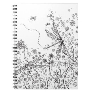 Dragonfly Floral Notebook Coloring Cover MADART