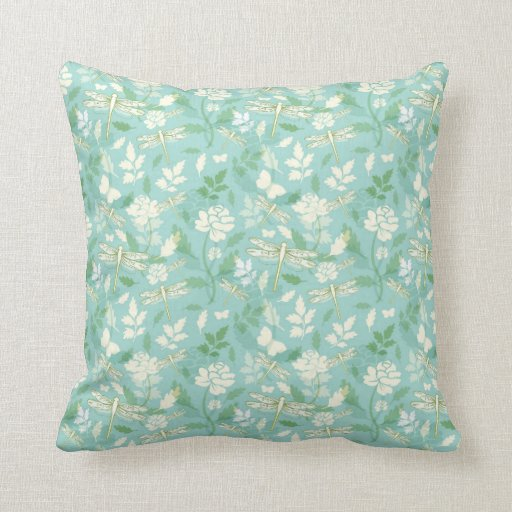 Throw Pillows In Mint Green : Dragonfly Floral Throw Pillow - Mint Green Zazzle