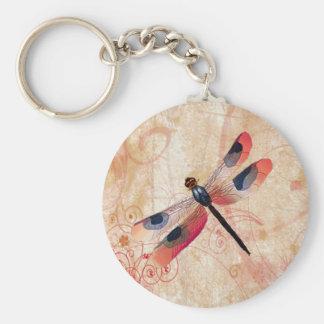 Dragonfly Flourish Keychain Basic Round Button Keychain