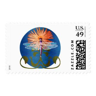Dragonfly Flower Stamp