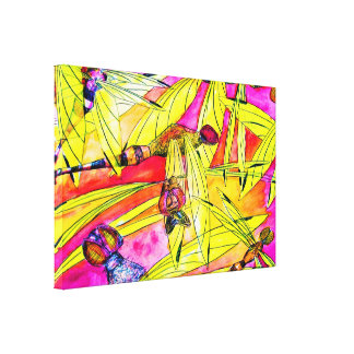 Dragonfly Flurry insect attack watercolor painting Canvas Print